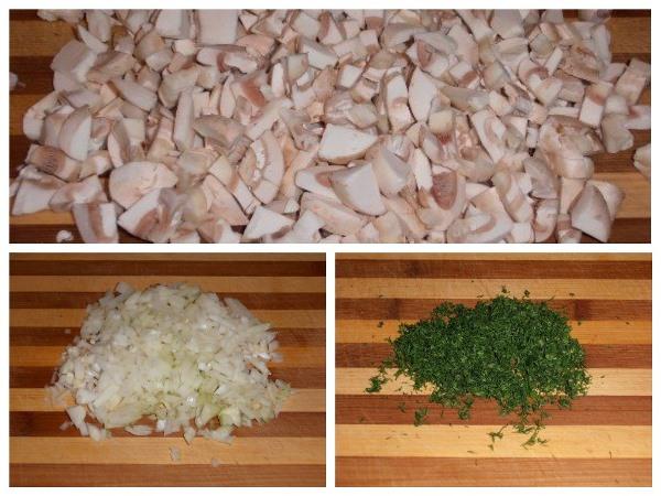 нарезать грибы, лук и укроп