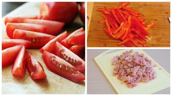 нарезать помидоры и перец, измельчить тунец