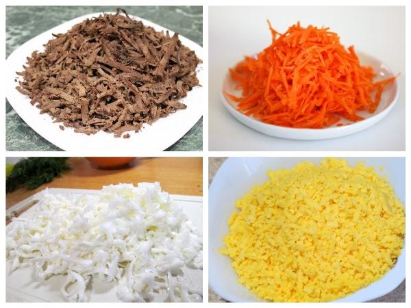 натереть ингредиенты для салата