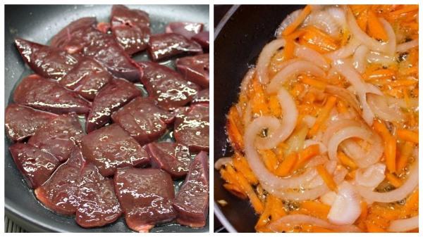 обжарить печень и лук с морковью