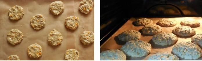 Выложить печенье на бумагу и отправить в духовку