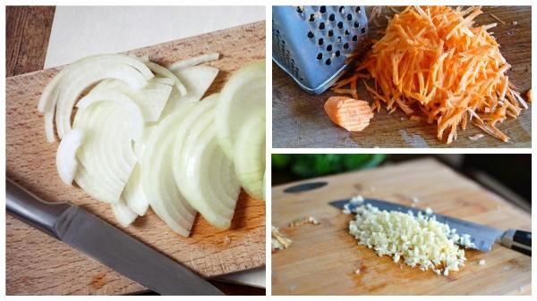 подготовить лук, морковь и чеснок