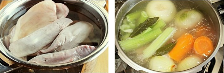 Отварить свиные уши и языки с овощами