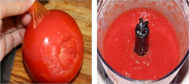 Снять с помидор кожицу и прокрутить в блендере