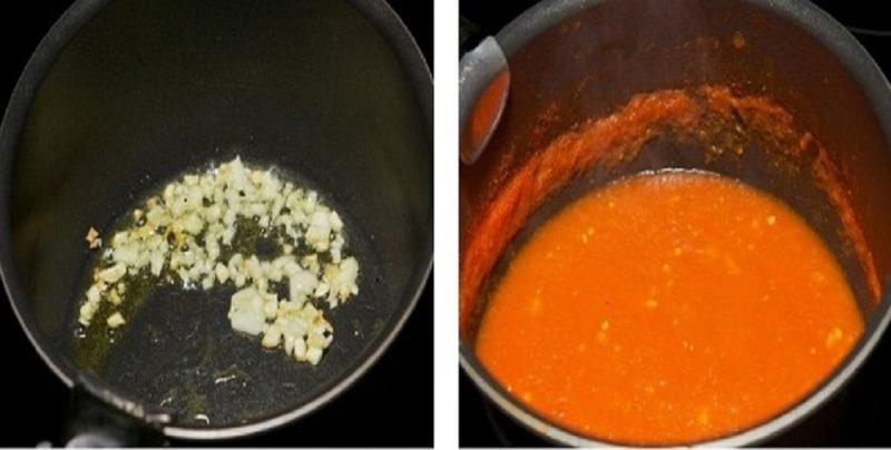 Обжарить чеснок и добавить томат