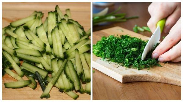нарезать огурцы и зелень