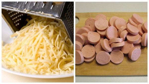 натереть сыр и нарезать сосиски