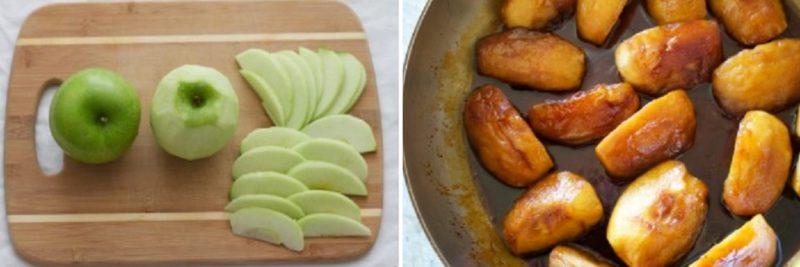 Почистить яблоко и запечь