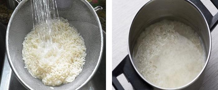 Рис промыть и залить кипятком