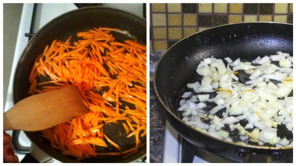 потушить морковь и лук