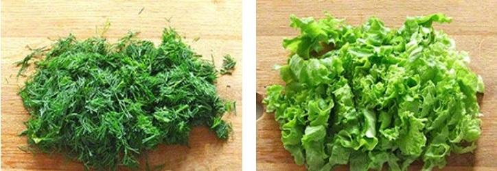Порезать укроп и листья салата