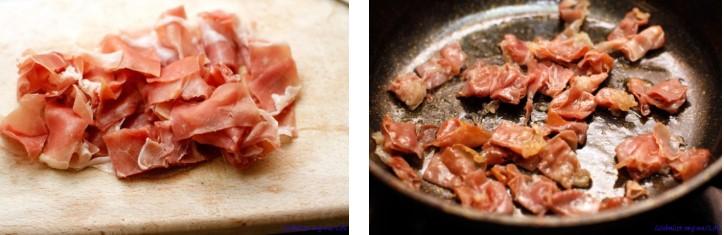 Гуанчиале режем полосками и выкладываем на сухую разогретую сковороду