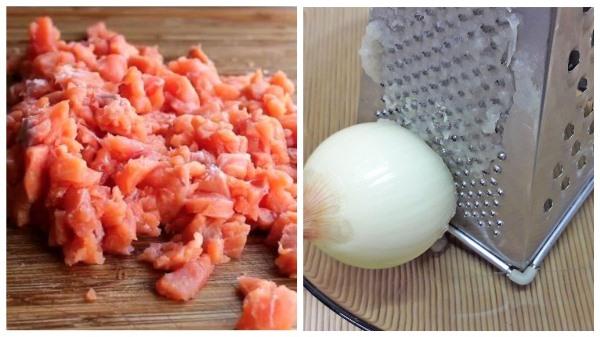 измельчить филе и натереть лук