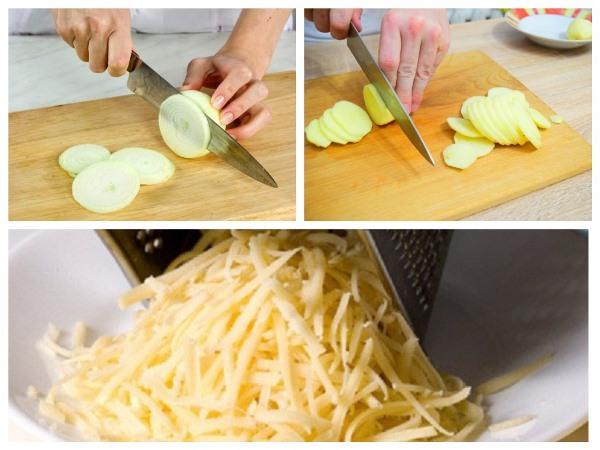 нарезать лук и картофель, натереть сыр