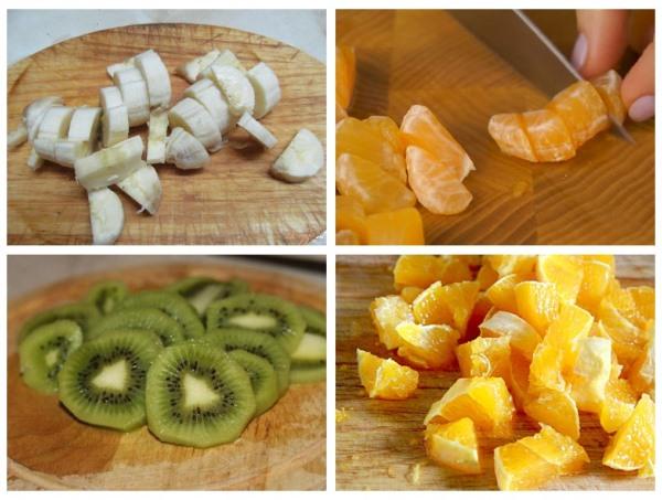 нарезать мандарины, апельсины, киви и бананы