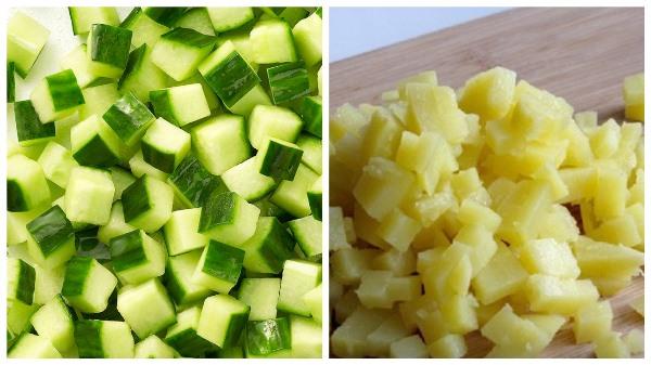 нарезать огурцы и картофель