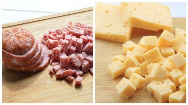 нарезать ветчину и сыр