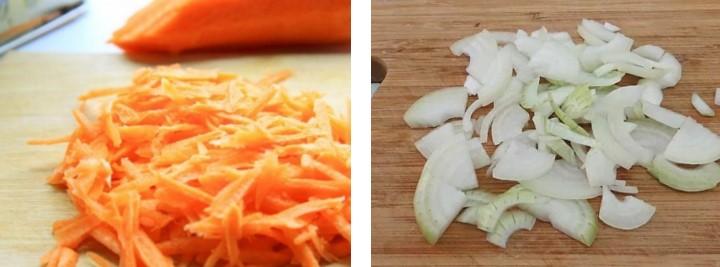 Натереть морковь и порезать лук