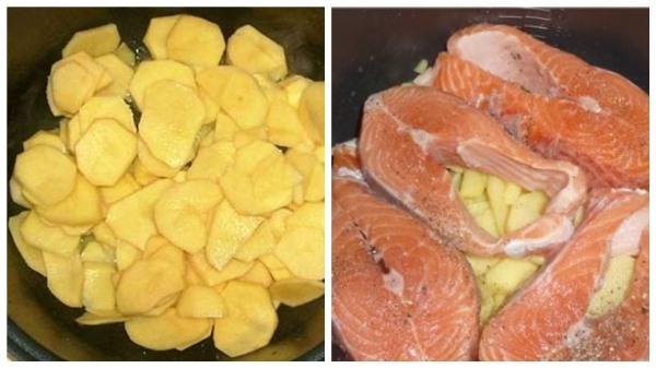 выложить картофель и форель
