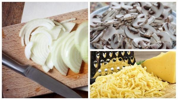 нарезать лук, грибы и натереть сыр