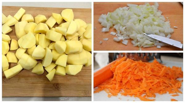 нарезать лук и картофель, натереть морковь