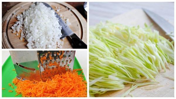 нарезать капусту и лук, натереть морковь