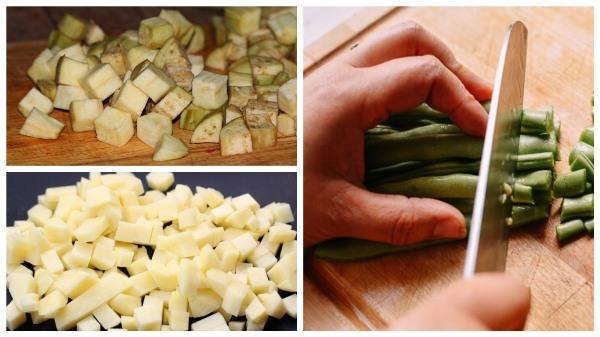 нарезать баклажаны, картофель и фасоль